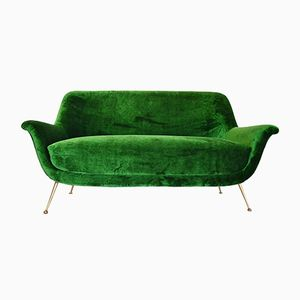 Mid-Century Italian Sofa with Brass Feet, 1950s