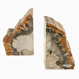Vintage Petrified Wood Bookends, Set of 2