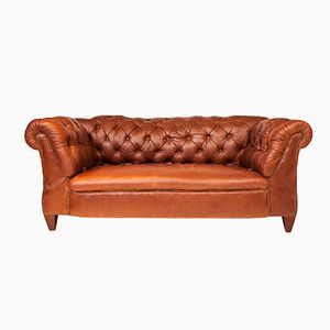 Edwardian Double Drop Arm Brown Leather Chesterfield