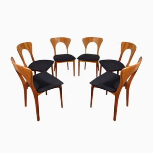 Mid-Century Model Peter Teak Chairs by Niels Koefoed for Koefoeds Hornslet, Set of 6