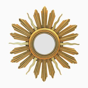 Vintage French Giltwood Sunburst Mirror, 1960s