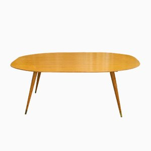 German Oval Birch Coffee Table, 1950s