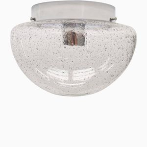 Mushroom-Shaped Clear Glass & Chrome Lamp with Inclusions, 1960s