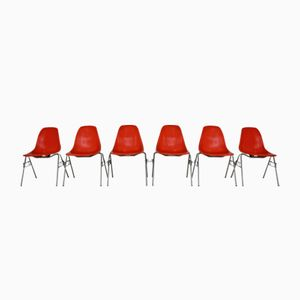 Vintage American Orange DSS Shell Chairs by Charles & Ray Eames for Herman Miller, 1965, Set of 6