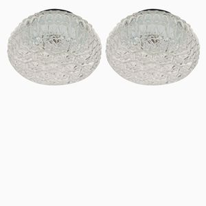 Small Structural Glass Wall Lamps, 1960s, Set of 2
