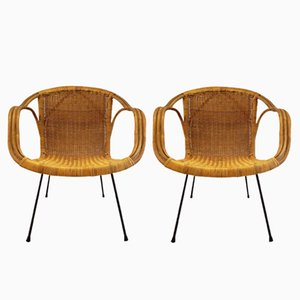 Mid-Century Modern Woven Wicker Basket Chairs, 1960s, Set of 2