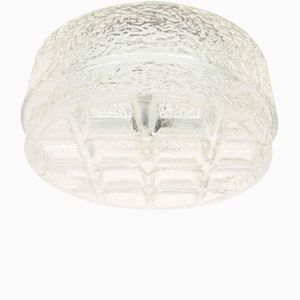 3D Geometric Clear Ice Glass Sconce, 1960s