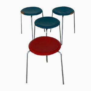 Dänische Vintage 3170 Dreibein Hocker von Arne Jacobsen für Fritz Hansen, 1968, 4er Set