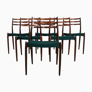 Mid-Century No. 78 Rosewood Dining Chairs by Niels O. Møller for J.L. Møllers, Set of 6