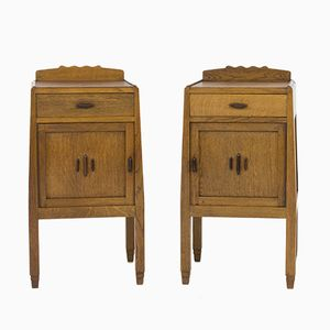 Art Deco Amsterdam School Nightstands by J.J.Zijfers, 1920s, Set of 2