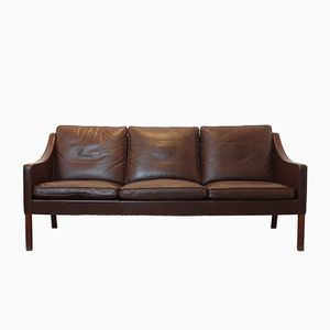 Vintage Leather 3-Seater Sofa by Børge Mogensen for Fredericia