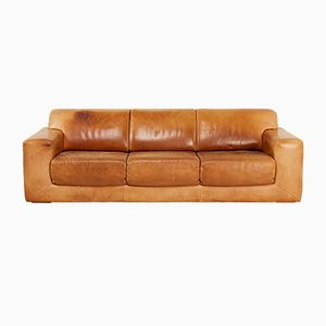 Swedish 3-Seater Sofa in Oxhide Brown Leather from DUX, 1970s