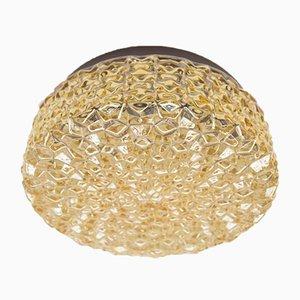 Goldene Strukturglas Wandlampe mit Geometrischem 3D Muster, 1960er