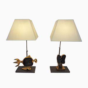 Skulpturale Lampen von Victor Roman, 1970er, 2er Set