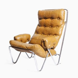 Vintage Leather and Chrome Tubes Armchair