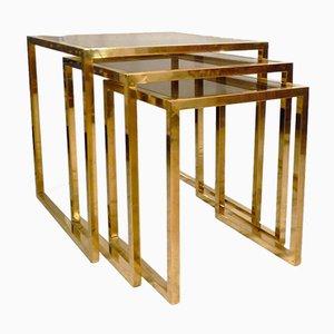 Italian Brass Nesting Tables, 1970s, Set of 3