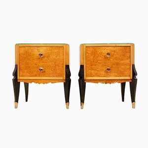 Italian Bedside Tables in Karelian Birch, 1930s, Set of 2