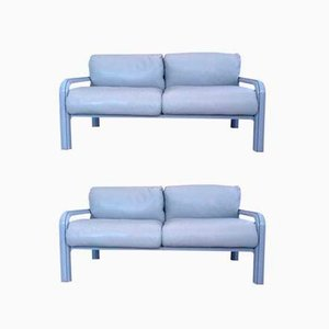 Two-Seater Leather Lounge Sofas by Gae Aulenti for Knoll International, 1980s, Set of 2