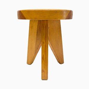French Three-Legged Wooden Stool, 1960s