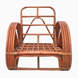 Round French Bamboo & Rattan Pretzel-Shaped Lounge Chair, 1950s