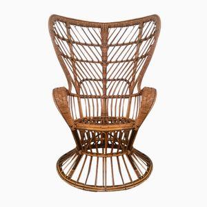 Mid-Century Italian Rattan Chair by Lio Carminati