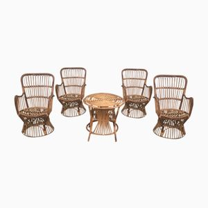 Italian Bamboo & Rattan Side Table & Four Chairs, 1950s