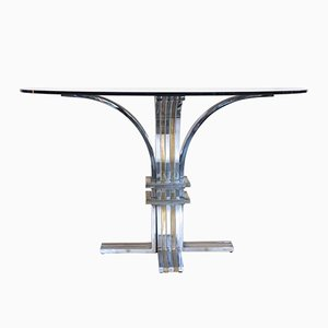 Pedestal Table in Steel and Gilded Brass by Romeo Rega, 1970s