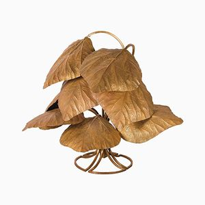 Ginkgo Floor Lamp in Gold-Plated Brass by Tommaso Barbi, 1970s