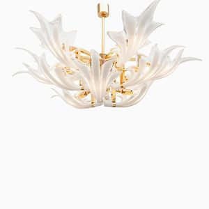 Brass & Murano Glass Leaves Chandelier, 1970s