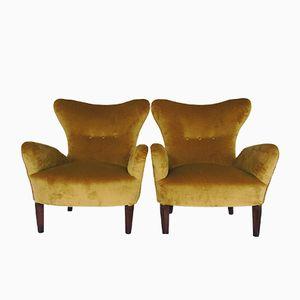 Italienische Sessel aus Samt, 1950er, 2er Set