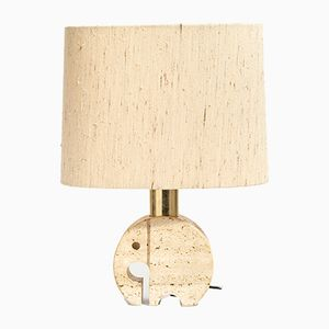 Italian Travertine Elephant Table Lamp, 1970s