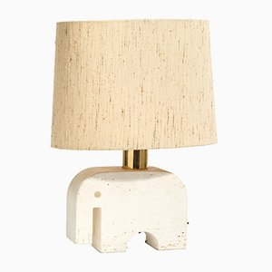 Italian Travertine Elephant Lamp from Fratelli Minnelli, 1970s