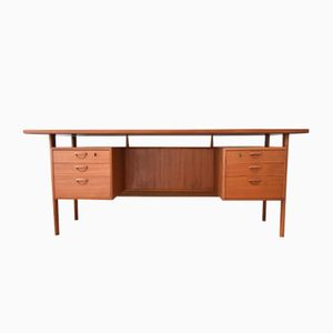 Mid-Century Danish Executive Teak Desk by Kai Kristiansen for Feldballes Møbelfabrik