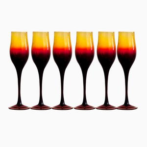 Wine Glasses by Zbigniew Horbowy for Huta Szkła Sudety w Szczytnej, 1970s, Set of 6