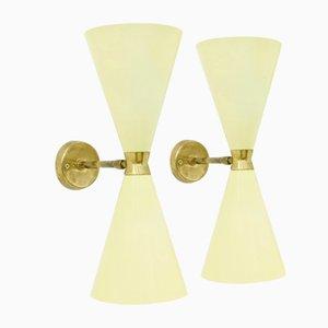 Diabolo Metal & Brass Wall Lamps, 1950s, Set of 2
