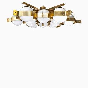 Grand Plafonnier 12 Globes en Laiton par Fedele Papagni, 2000s