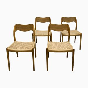 Danish No. 71 Dining Chairs by Niels O. Møller for J.L. Møllers, 1950s, Set of 4