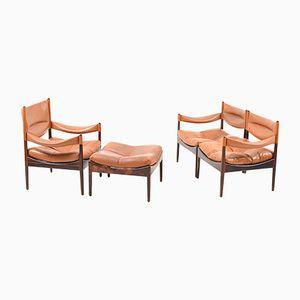 Sofa, Polsterstuhl & Ottoman von Kristian Vedel für Søren Willadsen Møbelfabrik, 1960er
