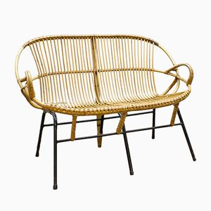 Rattan Bench from Rohe Noordwolde, 1960s