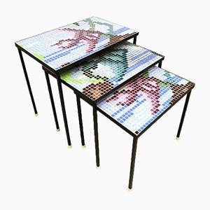 Tables Gigognes Vintage avec Mosaïque à Motif Graphique