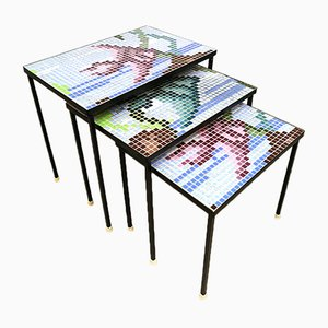 Vintage Nesting Tables with Graphic Print Mosaic
