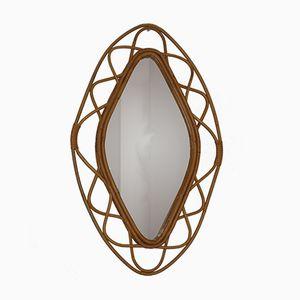 Lozenge- Shaped Rattan Mirror, 1960s