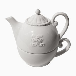 Vintage French Teapot with Ceramic Cup