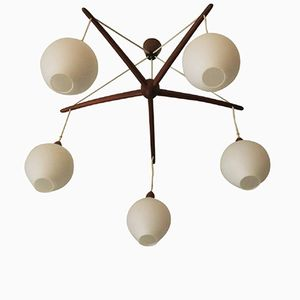 Danish Teak & Glass Chandelier, 1960s