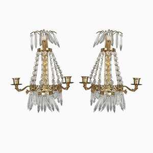 Antique Crystal Wall Mounting Candle Holders, Set of 2
