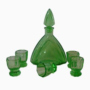 Vintage Italian Murano Glass Carafe & Glasses, Set of 6
