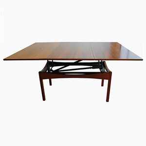 Vintage Height-Adjustable Rosewood Coffee or Dining Table