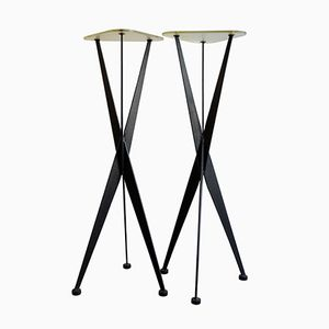 Slender Side Tables in Metal and Glass, 1950s, Set of 2