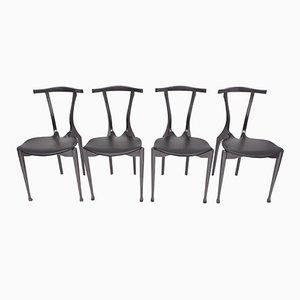 Schwarze Gaulino Stühle von Oscar Tusquets, 1980er, 4er Set