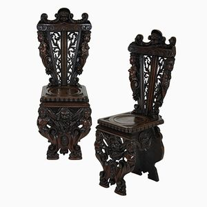 Italian Hall Chairs, 1830s, Set of 2